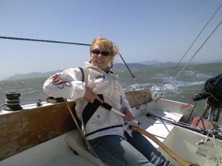 Heidi at the helm of Sweet Pea. 2009. Photo by AJS.