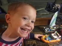 Building Legos in the salon.