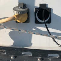 Power cord boat receptacle (on the left).