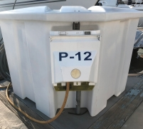 Dock box with our individual slip power cord plug and electric meter.