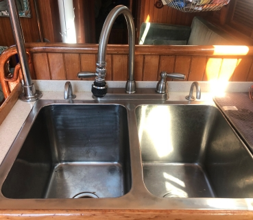 Galley (kitchen) faucet and sinks.